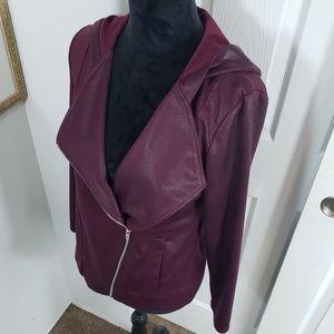 Burgundy Wine Colored Slant Zip Hooded Sweatshirt